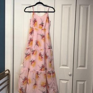 Cute pink strapless maxi dress